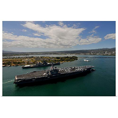GREATBIGCANVAS Poster Print Entitled USS Carl Vinson Passes The USS Missouri Memorial in Pearl Harbor by Stocktrek Images 24