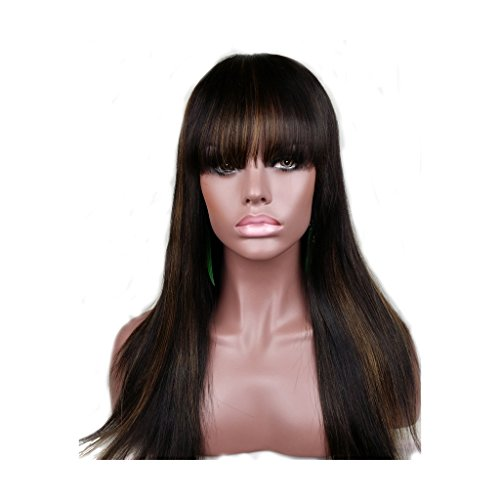 Remeehi STOCK WIG Lace Front Silky Straight Bob Wig with Bangs 100% Brazilian Remy Human Hair 16Inch 1b-30# Highlight