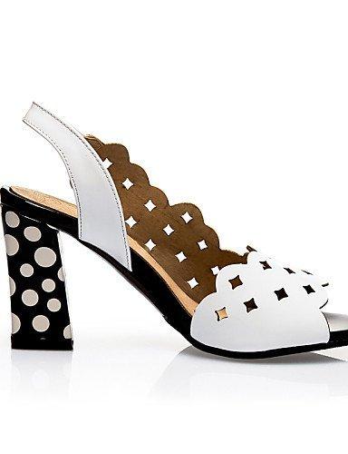Leatherette Peep Heels Chunky ShangYi Shoes White Black Sandals Casual Heel Toe Women's Black aEnwqgwxT