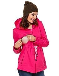 Zeta Ville - Womens Maternity Nursing Hooded Sweatshirt Removable Panel - 039c