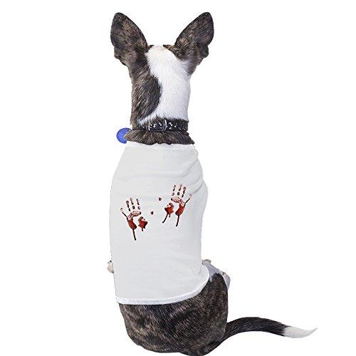365 Printing Bloody Handprints White Pet Halloween Shirt Gift For Small Pet (Handprint Halloween Cat)