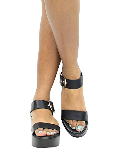 Bambou Femmes Confort Or Boucle Plateforme Sandales Compensées Noir
