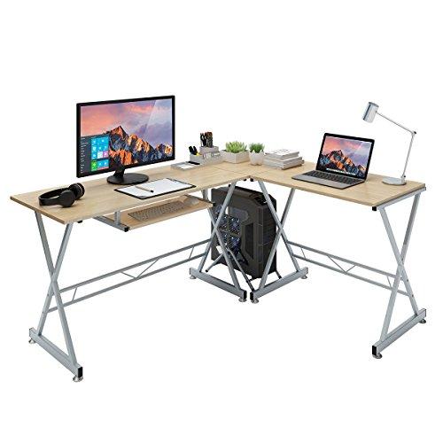 SLYPNOS Escritorio de Esquina, Mesa de Ordenador en Moderno Forma L, Mesa de Estudio Esquina, MDF+Acero, Capacidad máxima 50 Kg para Hogar, Oficina, ...