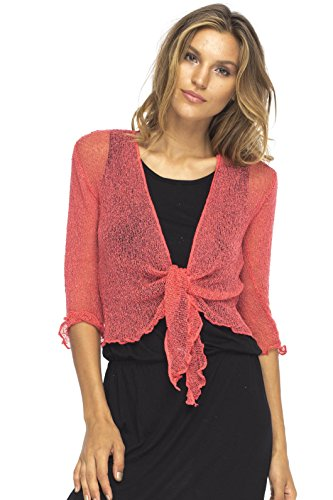 One Ball Knits Purses - Back From Bali Womens Lightweight Knit Cardigan Shrug Lite Sheer Coral