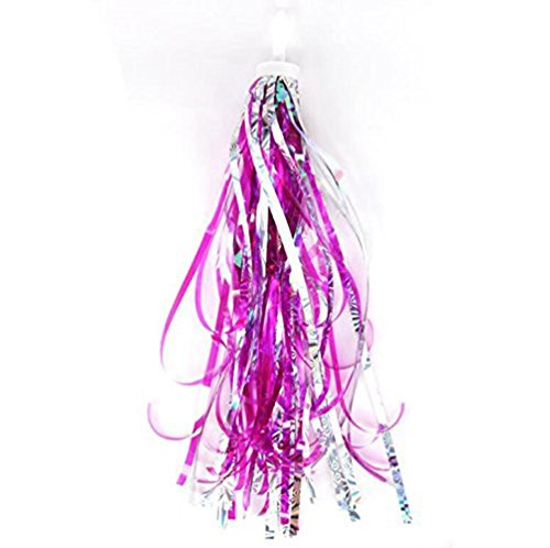 Sharlity Kids Colourful Laser Bicycle Streamers Tassel Ribbons for Boys Girls (Pink)