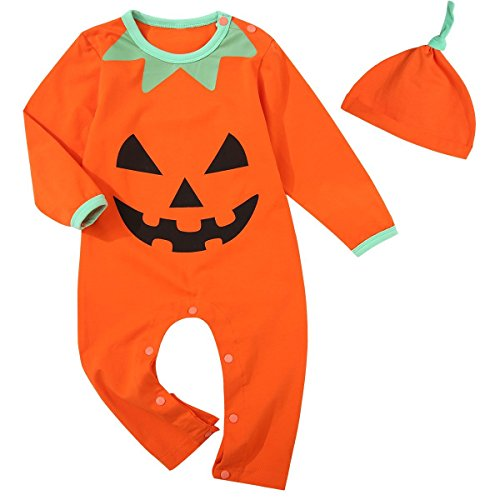 Baby Boys Girls Outfit Set Long Sleeve Cartoon Halloween Pumpkin Face Romper with Hat (12-18 Months)]()