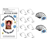 Watch Your Mouth Game Set - Big Mouth Challenge - Party Game - Set of 8 Dental Mouth opener cheek retractors + 100 Phrase Cards in 2 Decks (Dirty deck and Family Friendly deck)