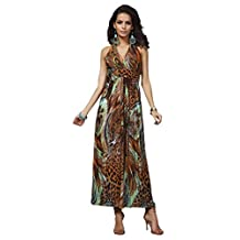 Honeystore Women's Exotic Peacock Summer Island Beach Casual Maxi Dress