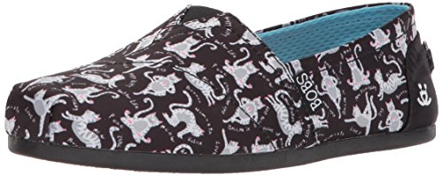 from Plush BOBS Skechers Flat Black Women's Ballet Yoga Bobs Cat qH4wnwCx7