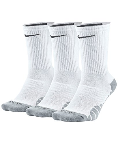 Nike Women's Everyday Max Cushion Training Crew Sock (3 Pair), Nike Socks with Cushioned Comfort & Dri-FIT Technology, White/Wolf Grey/Anthracite, M