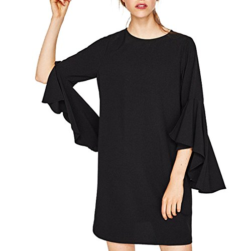 Forest Kiss Women's Crew Neck 3/4 Flare Bell Sleeve Casual Tunic Blouse Mini Shift Dress with Keyhole Back Black L