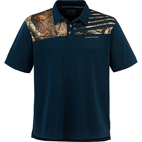 Legendary Whitetails Mens Fast Lap Polo Navy (Camo Polo Shirts)