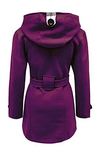 femmes COUTURE veste cexi polaire Violet boutonnage avec capuche double ceinture FEMMES hiver manteau 8axndq