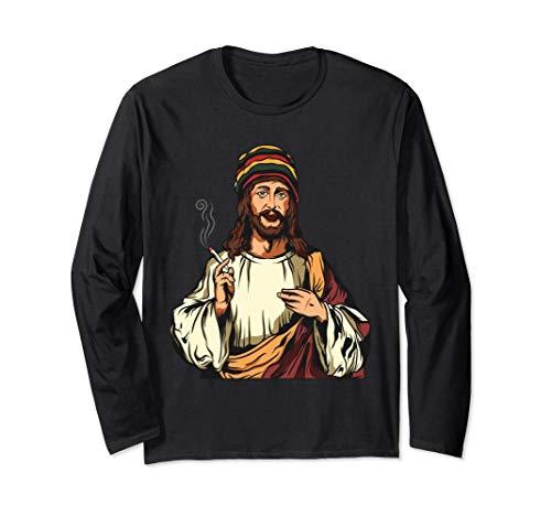 Pot Smoking Jesus Christ   Funny Cannabis Weed THC CBD Long Sleeve T-Shirt