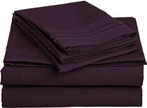#1 Bed Sheet Set on Amazon! 1800 Thread Count Luxury Hotel Quality Bed Sheets Super Silky Soft Brushed Micro Fiber Wrinkle Free, Fade, Stain Resistant - Hypoallergenic - Deep Pockets Platinum Quality 4 Piece Sheet Sets. Top Quality Luxury Fitted & Flat Sheets, Pillowcases Available in Many Colors and Sizes. (Eggplant, Full)