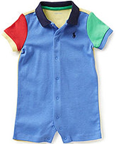 Ralph Lauren Baby Boys Color-Blocked Cotton Shortall (6 Months, Regal - Ralph Polo Lauren Colors