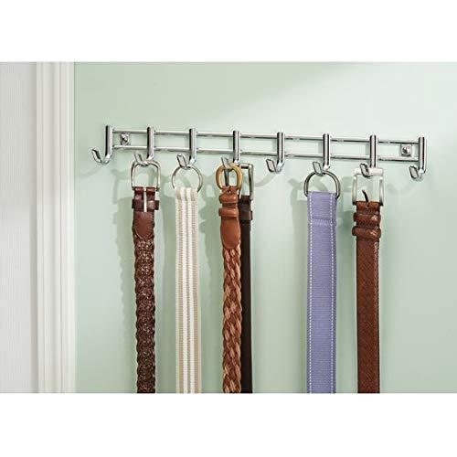 InterDesign Axis Colgador de corbatas, colgador de metal cromado con 8 ganchos, porta corbatas y cinturones, plateado