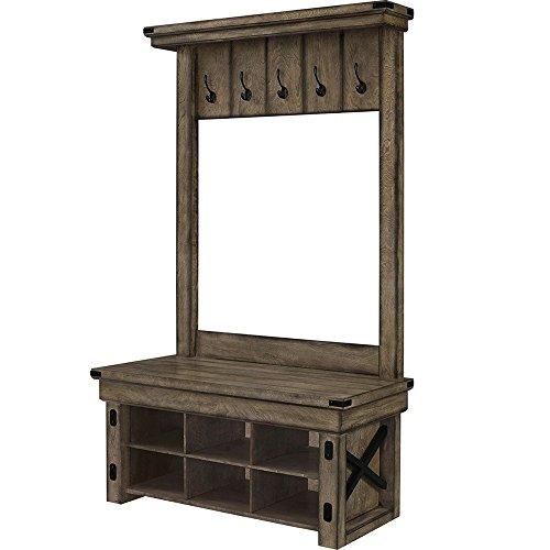 Contemporary Entry Bench: Amazon.com: Rustic Entryway Bench With Coat Rack Hooks And