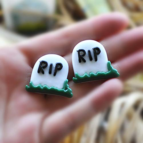 ZAMTAC DIY Decoration for Halloween Party 20pcs Mixed 2628mm Cabochon Flat Backs Resin RIP Tombstone Grave ()