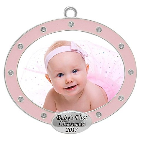 "2017 ""Baby's First Christmas"" Pink Frame, Harvey Lewis™ Silver-Plated Ornament - Made with Swarovski® Elements"