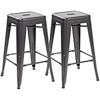 eurosports Tolix Style Chair 3001-MS-2 Backless Metal Bar Stools Chair,Set of 2 Matte Silver 26 inches