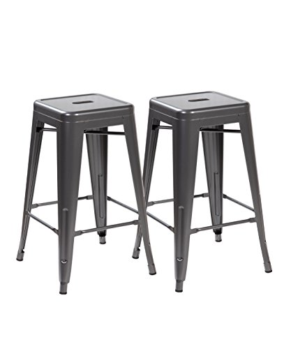 United Chair Tolix Style Backless Metal Bar Stools Chair Set of 2 Matt Silver 26 inches 3001-MS-2
