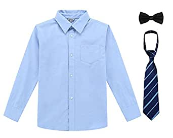 Bienzoe Boy's School Uniform Long Sleeve Button Down Oxford Shirt & Tie, Bowtie Blue Size 4