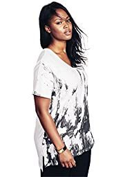 Roamans Women\'s Plus Size Print Slub Tunic White Print,2X