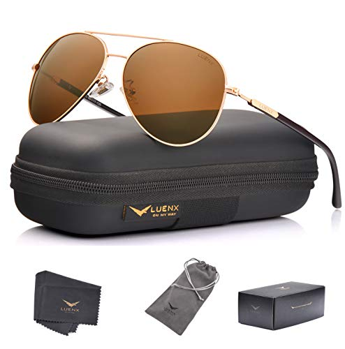 LUENX Aviator Sunglasses Mens Polarized Brown Plastic Lens Gold Metal Frame Large ()