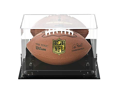 Deluxe Acrylic Mini - Miniature (not Full Size) Football Display Case with Black Risers and Mirror (A005-BR)