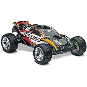 Traxxas 1/10 Scale Rustler RTR Stadium Truck with TQ 2.4 GHz Radio System, Black