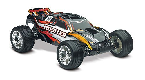Traxxas 1/10 Scale Rustler RTR Stadium Truck with TQ 2.4 GHz Radio System, Black ()