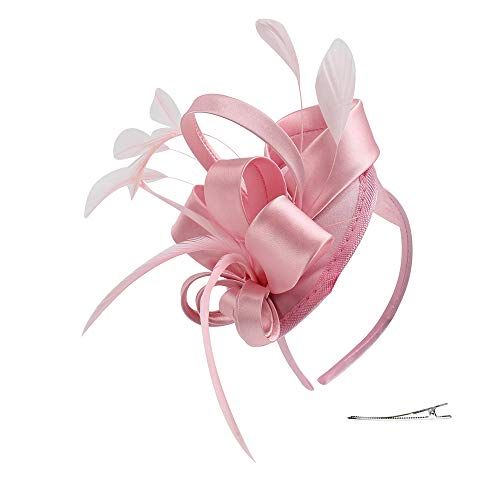 Felizhouse Kentucky Derby Fascinator Hats for Kids Girls Pets Feather Cocktail Party Hats Headpieces Headband (#1 Satin Pink) -