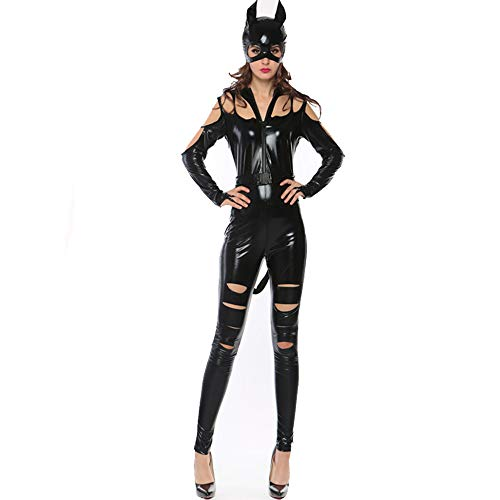 XINYU Women Sexy Catsuit Catwoman Costume Patent Leather Wet Look Jumpsuit Clubwear Fancy Dress Nightclub Cosplay Costume Birthday Gift,Black-OneSize