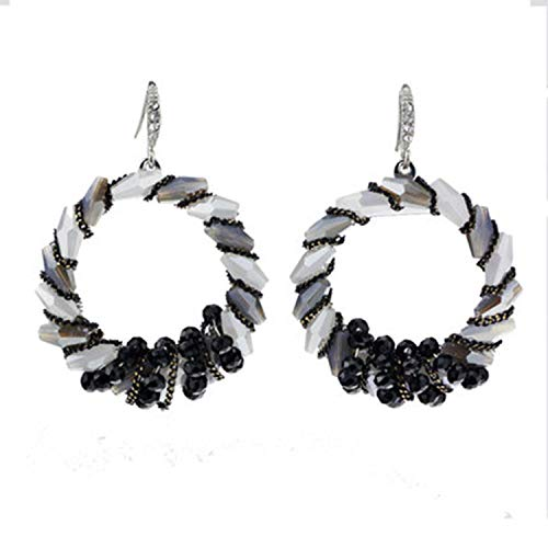 YANGLAN Bohemian Large Hoop Earrings, Artificial Crystal S925 Silver Hook Earrings, Exaggerated Personality Banquet Temperament Handmade Earrings