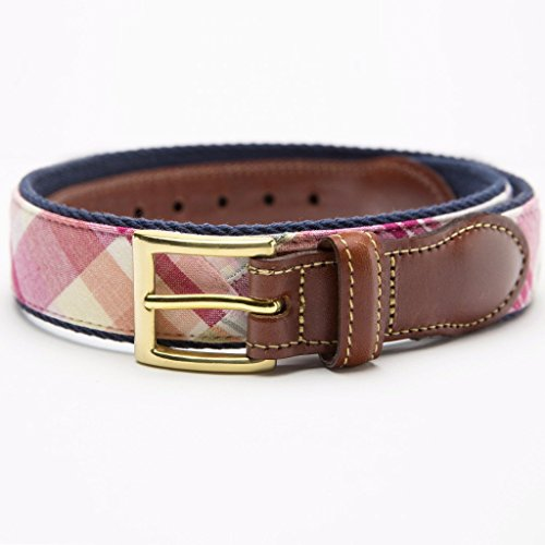 Patchwork Madras Leather Tab Belt- Tuckers Point -