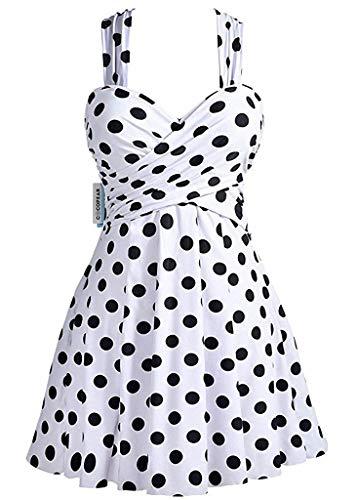 (Cheryl Bull Fashion Women's Crossover One Piece Swimdress Floral Skirted Swimsuit,X-Large/10-12,PolkaDotWhite)