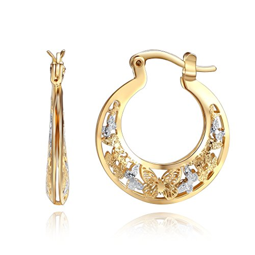 18k Two Tone - Orangelove 18K Gold Plated Women's Two-Tone Butterfly Hoop Earrings Wedding Enagement Party Birthday Gift (Butterfly Hoop Earrings 22mm)