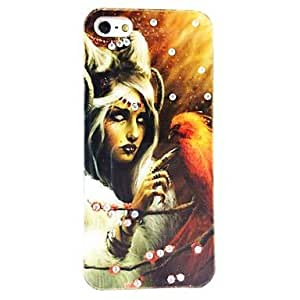 LIMME Fashions Diamond Bling Shining Punk Female Flowers Ghost Owl Hand Made Jewelry Pattern Polycarbonate Hard Case for iPhone 5/5S