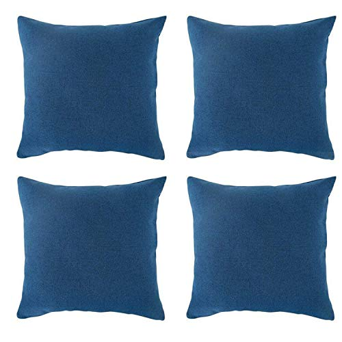 (MRNIU Set of 4Faux Linen Square Throw Pillow Cover Cushion Cover for Couch 20x20 inch No Pillow Included (Spinach Green-4PCS, 20in))