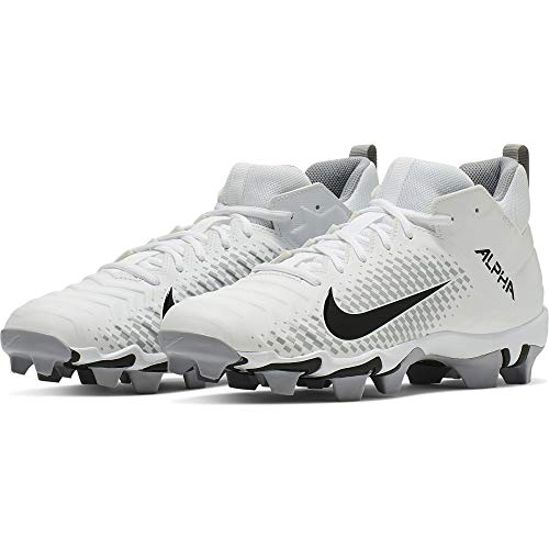 330ab48266cd Nike Men's Alpha Menace 2 Shark Football Cleat White/Black/Wolf Grey Size  10.5 M US