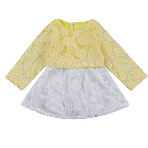 Amlaiworld Baby Mädchen bunt blumen langarm Spitze kleider Niedlich kinder Flickwerk tutu kleidung für neugeborene,0-36Monate D