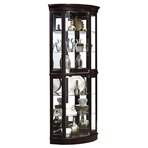 Beaumont Lane Mirrored Corner Curio Cabinet in Sable Brown
