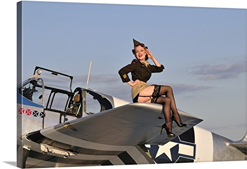 Christian Kieffer Gallery-Wrapped Canvas entitled Pin-up girl sitting on the wing of a P-51 Mustang by greatBIGcanvas
