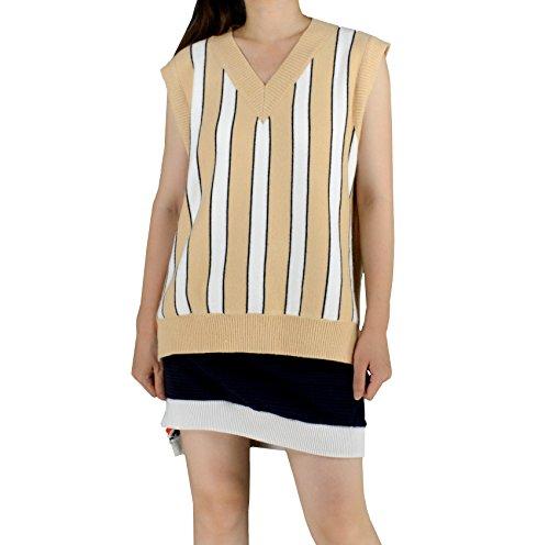 (YSJ Women's Deep V-Neck Sweater Vest Striped Pullover Loose A-Line Knit Vest (One Size, Apricot Stripe))