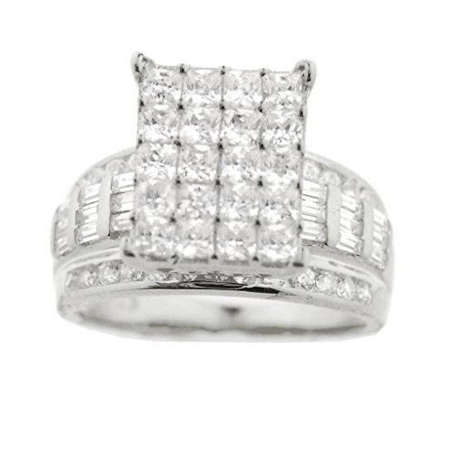 Midwest Jewellery Sterling Silver Wedding Ring Wide With Large Cluster on Top Baguette and Round (Extra Wide Band Ring)