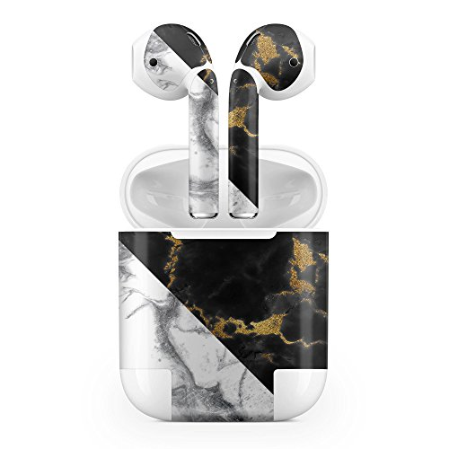 Apple AirPods Skin Kit - White-Black Marble & Digital Gold Foil V1 - Design Skinz Minimal Protective Decal Wrap