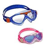 Aqua Sphere Vista Junior 2 Pack Swim Goggles Blue Lens w/Clear/Lime & Pink/White Frames