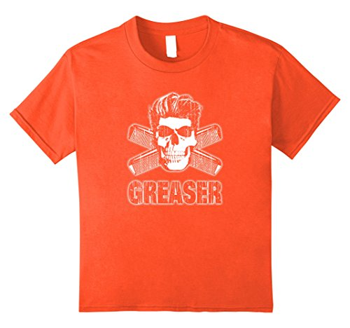 Kids Greaser T-Shirt Skull and Combs 8 (1950s Greaser Girl)