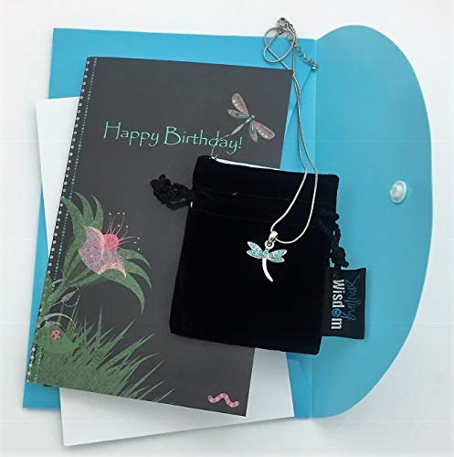 Smiling Wisdom - Happy Birthday Dragonfly Chalkboard Art Greeting Card and Dainty Blue Dragonfly Pendant Necklace - Cute Happy Birthday Gift for Her Girl Mom Tween Teen Daughter Friend - Blue ()
